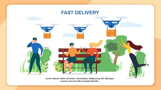 Pessoas de desenho animado recebem entrega rápida de pacote de correio