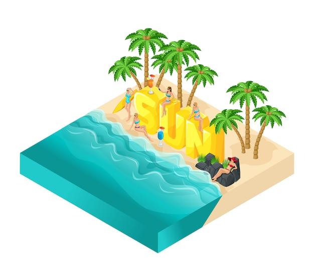 Pessoas de desenho isométrico, garota de maiô, grande palavra sol, relaxamento, palmeiras, bebidas, mar, ilustração de verão brilhante praia sol