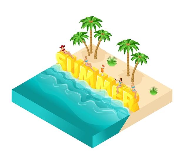 Pessoas de desenho isométrico, garota em trajes de banho, palavra grande verão, recreação na praia, areia, palmeiras, bebidas, mar, ilustração de verão brilhante sol