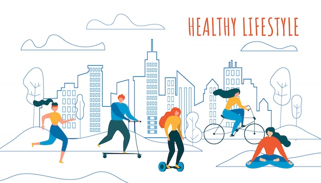 Pessoas de desenhos animados ciclismo run ride scooter hoverboard