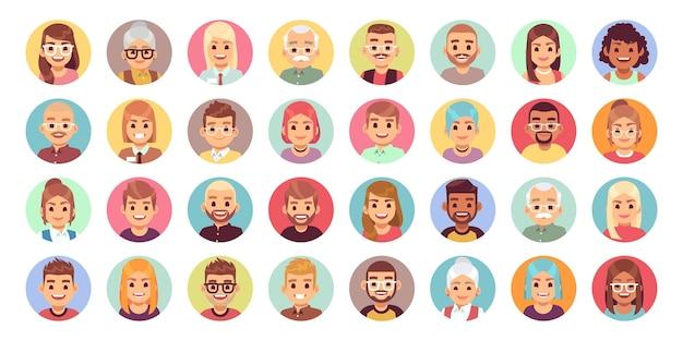 Pessoas de desenhos animados de avatares. diversidade de personagens planos e retratos de avatar para trabalhadores de escritório, conjunto de ícones de rosto de vetor