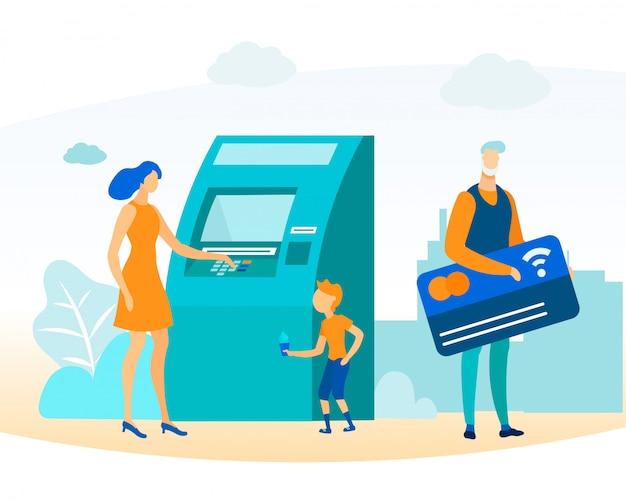 Pessoas de desenhos animados e transação de dinheiro