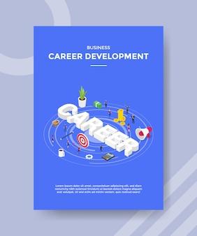 Pessoas de desenvolvimento de carreira de negócios ao redor seta alvo quadro dinheiro megafone texto de carreira
