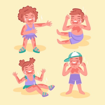 Pessoas de design plano com uma ilustração de queimadura de sol