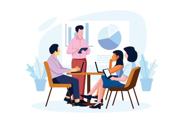 Pessoas de design plano em treinamento empresarial ilustrado