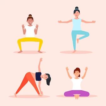 Pessoas de design plano fazendo coleção de ioga