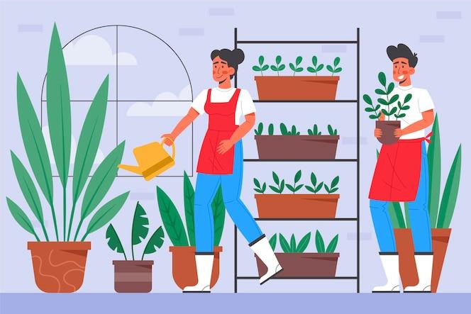 Pessoas de design plano fazendo jardinagem dentro de casa