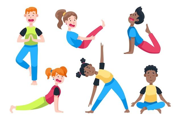 Pessoas de design plano fazendo yoga
