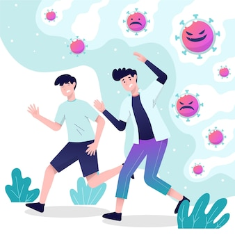 Pessoas de design plano fugindo de partículas de ilustração de coronavírus