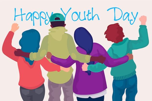 Pessoas de dia da juventude design plano abraçando juntos