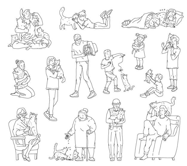Pessoas de diferentes idades com gatos sem pedigree. os personagens se abraçam e cuidam de seus bichinhos favoritos. esboço doodle ilustrações vetoriais brancas pretas isoladas.