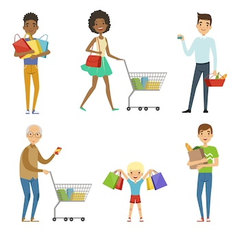 Pessoas de diferentes idades fazem compras.