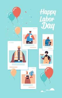 Pessoas de diferentes ocupações celebrando o dia do trabalho