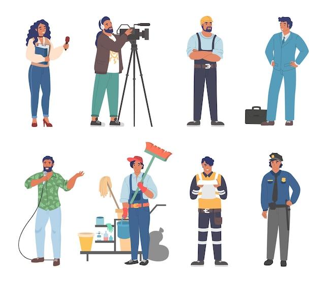 Pessoas de diferentes ocupações e profissões, trabalhadores em uniforme de desenho animado conjunto plana vetor ...