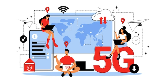 Pessoas de diferentes países usando 5g wireless internet flat
