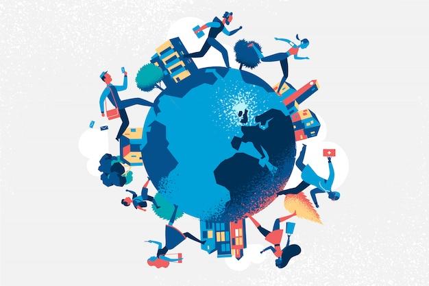 Pessoas de diferentes profissões correndo no globo