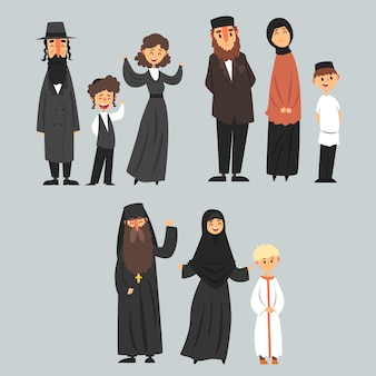 Pessoas de diferentes religiões em roupas tradicionais, ilustrações de família judia, muçulmana, ortodoxa