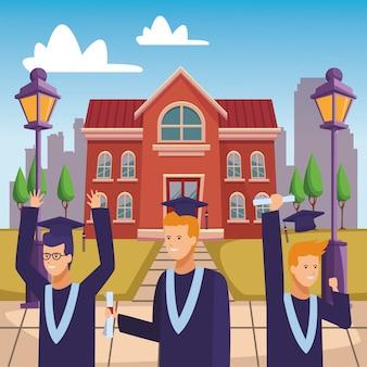 Pessoas de diploma de cerimônia de formatura do campus