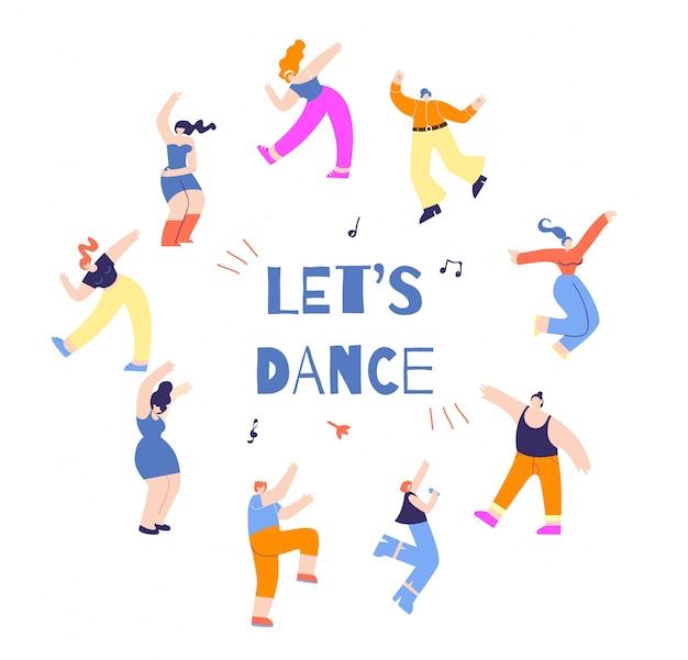 Pessoas de discoteca, movendo-se redondo motivar o cartaz de texto