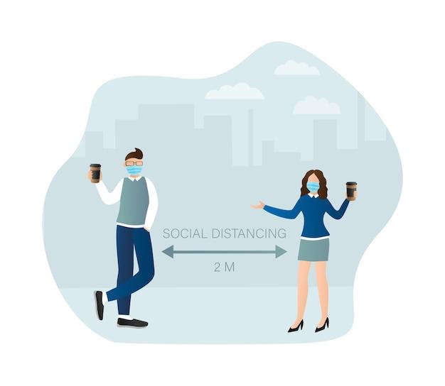 Pessoas de distanciamento social em estilo simples. ilustração de prevenção médica.