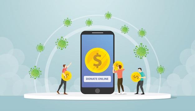 Pessoas de doação de smartphone móvel on-line para a crise econômica de corona covid-19 com moderno estilo simples