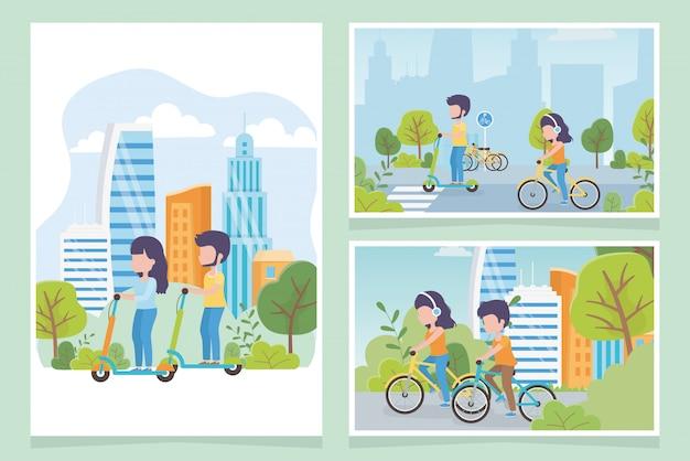 Pessoas de ecologia urbana transportam bicicleta rua de parque de scooter elétrico