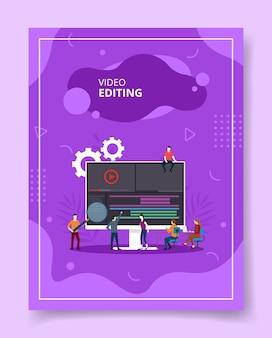 Pessoas de edição de vídeo coworking no computador, pôster.
