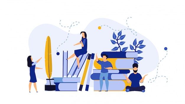 Pessoas de educação com ilustração de livros