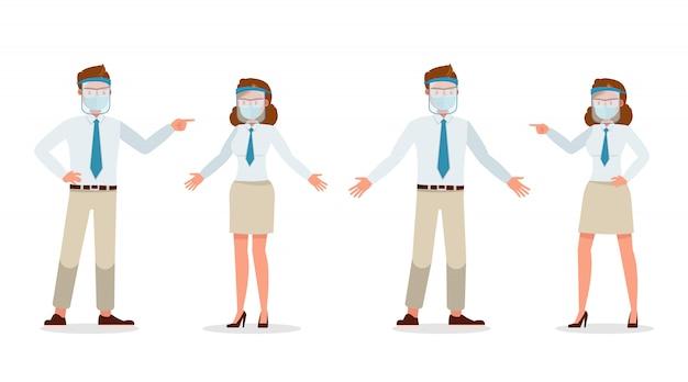 Pessoas de empresário vestindo máscara médica e rosto escudo personagem. apresentação em várias ações. nova vida normal.