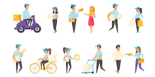Pessoas de entrega de correio conjunto de caracteres plana
