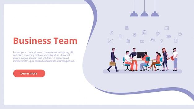 Pessoas de equipe de negócios trabalham conceito de finanças para o design de banner de modelo de site