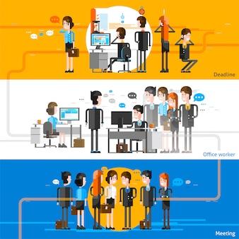Pessoas de escritório plano fundo horizontal