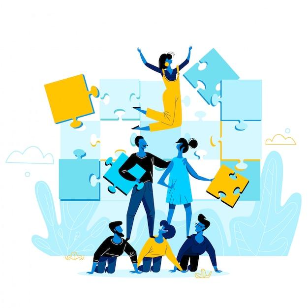 Pessoas de escritório trabalham juntos configurando enormes peças de quebra-cabeça colorido