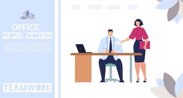 Pessoas de escritório trabalhando banner web plana