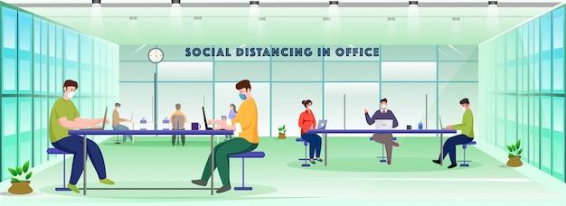 Pessoas de escritório usam máscara protetora no local de trabalho com manter o distanciamento social para se proteger da disseminação do coronavírus.