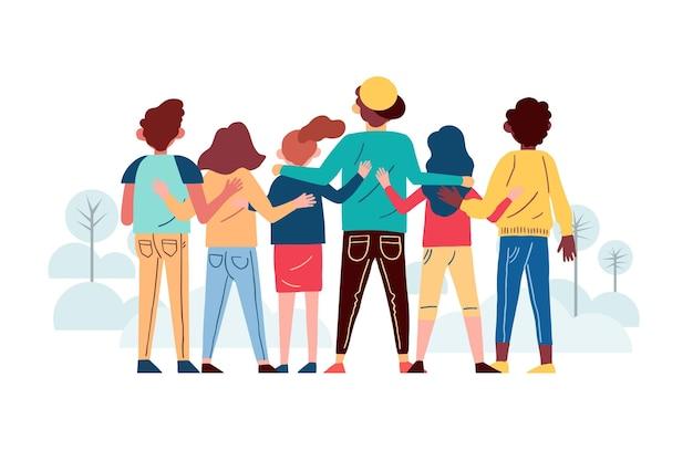 Pessoas de estilo mão desenhada abraçando juntos