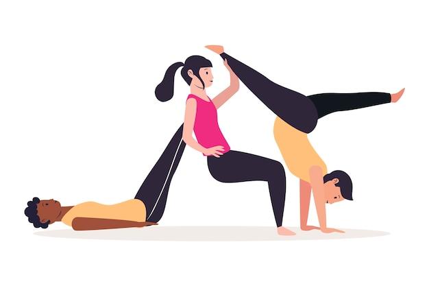 Pessoas de estilo mão desenhada fazendo yoga