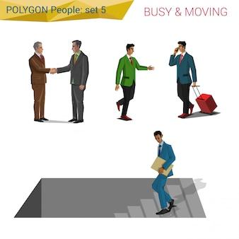 Pessoas de estilo poligonal em movimento conjunto de ilustrações.