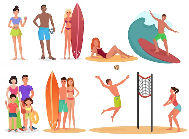 Pessoas de férias de esporte ativo de verão