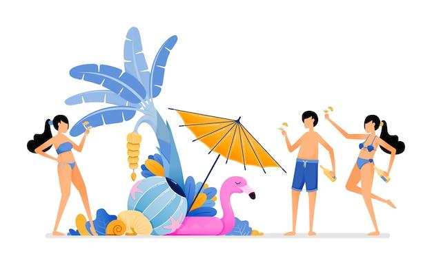 Pessoas de férias para uma praia tropical
