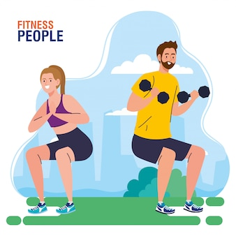 Pessoas de fitness, casal fazendo exercícios ao ar livre, conceito de recreação esportiva