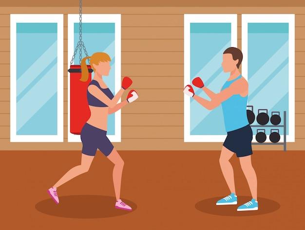Pessoas de fitness e ginásio