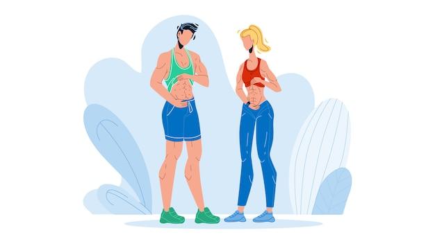 Pessoas de fitness mostrando abdômen e barriga lisa