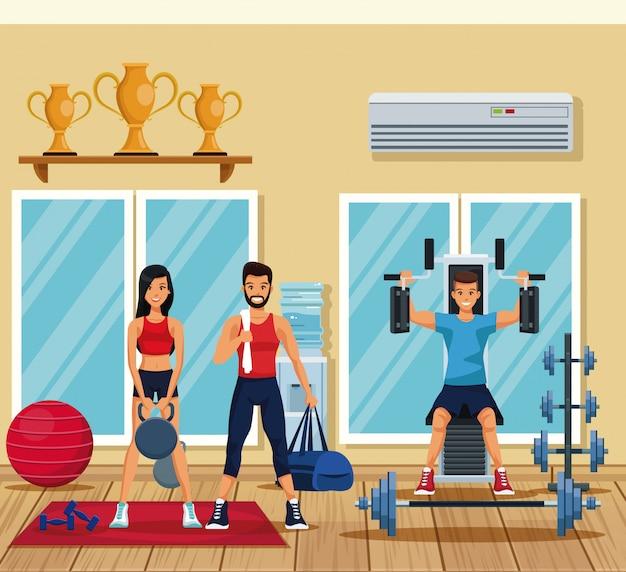 Pessoas de fitness que treinam dentro do ginásio