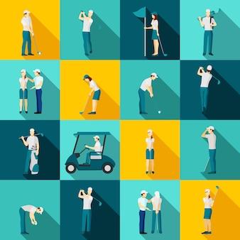 Pessoas de golfe planas