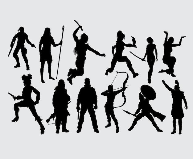 Pessoas de herói com arma silhueta masculina e feminina
