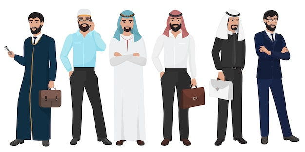 Pessoas de homem de negócios árabes muçulmanos