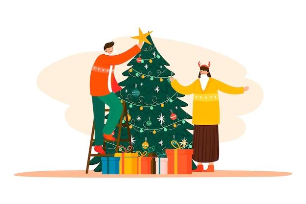 Pessoas de ilustração decorando a árvore de natal