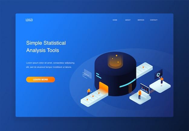 Pessoas de ilustração isométrica 3d interagindo com o gráfico de pizza, análise de dados, página de destino