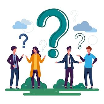 Pessoas de ilustração plana fazendo perguntas
